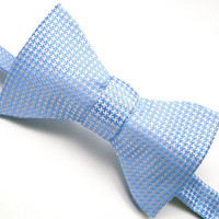 Mens Summer Fashion, Blue & White Bow Tie, Blue and Gold - 'Summer Houndstooth'