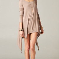 TAUPE ASYMMETRICAL OVERSIZE TUNIC DRESS | PUBLIK | Women's Clothing & Accessories