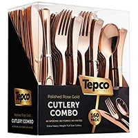 160 Piece Rose Gold Heavyweight Disposable Cutlery Set - Plastic Silverware Flatware - Includes 80 Forks, 40 Spoons, 40 Knives - WDF (Rose Gold)