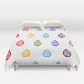 Rainbow raindrops Duvet Cover by Savousepate