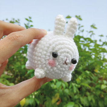 Amigurumi Crochet Doll White Chubby Bunny Key Chains