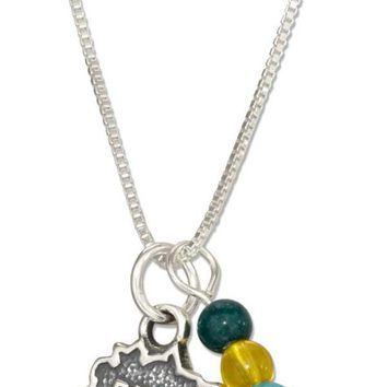 "Sterling Silver 18"" Brazil Map Pendant Necklace With Green Yellow And Blue Beads"