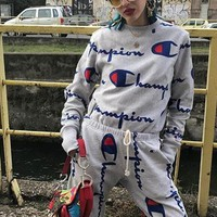 Champion Fashion Women Men Personality Long Sleeve Logo Print Gym Pullover Sweater Pants Trousers Set Two-Piece Grey