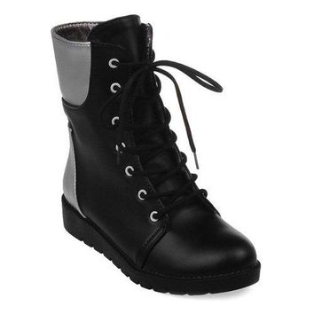 Round Toe Lace Up Color Block Ankle Boots - Black 37