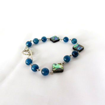 Abalone and Blue Apatite Tennis Bracelet, Gift for her
