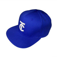 TC Text Initial 3D Puff Embroidered Baseball Snapback Adjustable Cap - 2 Colors Available