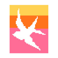 Beautiful negative silhouette of bird in flight. Modern cross stitch. Contemporary cross stitch pattern.