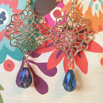 Gold Medallion Chandelier Earring with Blue Glass Teardrop Beading