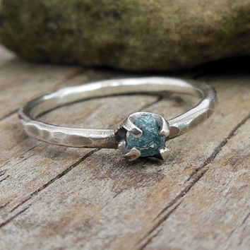 Rough Blue Diamond Ring, Tiny Sterling Silver, Rustic Hammer Texture Band, April Birthstone, Promise Ring