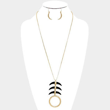 Black & Gold Layered Triple Horn Hammered Metal Hoop Long Necklace and Earrings Set