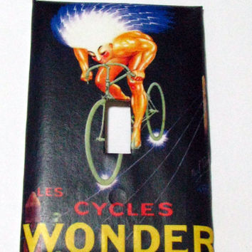 Light Switch Cover - Light Switch Plate Wonder Cycles French Vintage Bicycle Ad