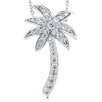 Sterling Silver Palm Tree Pendant Necklace in Cubic Zirconia CZ #n764-01