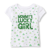 Toddler Girls Short Sleeve 'Mommy's Lucky Girl' Graphic Tee | The Children's Place