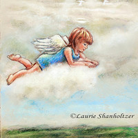 Angel, nursery art print, baby gift, baptism, christening, get well, YOUR GUARDIAN ANGEL by Laurie Shanholtzer