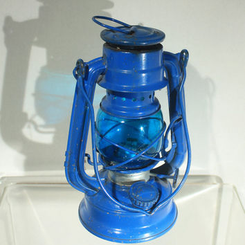 Blue Lantern, Blue Home Decor, Kerosene Lantern, Gold Blast Lantern, WingedWheel, Model 350