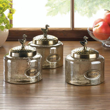 Canister Set-Hammered Glass Metal Lids Bird Finials  Set of 3