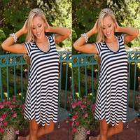 Summer Women's Fashion Stripes Short Sleeve V-neck One Piece Dress [6343424577]