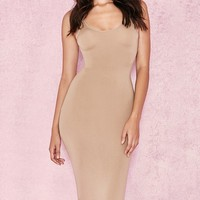 In The Hills Sleeveless Scoop Neck Bodycon Midi Dress - 4 Colors Available