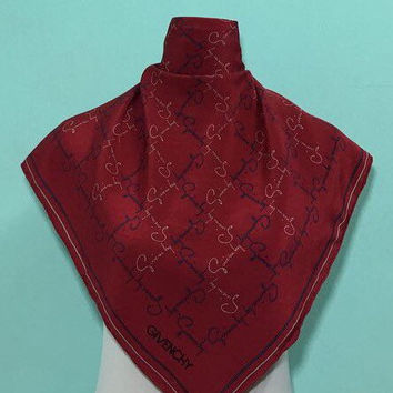 """Free postage Auth Givenchy silk scarf Handrolled (29""""x30"""") 509"""