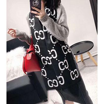GUCCI Hot Sale GG Letter Jacquard Cashmere Cape Scarf Scarves Shawl Accessories Black