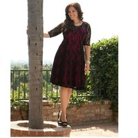 Plus Size Lace Overlay Half Sleeve Dress