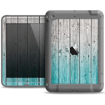 The Trendy Teal to White Aged Wood Planks Apple iPad Air LifeProof Fre Case Skin Set