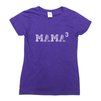 Mama Cubed Shirt Three Children T-Shirt 3 Kids TShirt New Mom Mothers Day Funny Christmas Cool Humor Parents Gift Dad Mom Ladies Tee - SA276