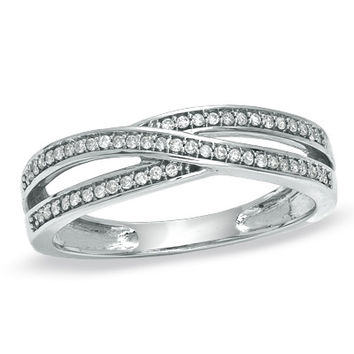 1/6 CT. T.W. Diamond Double Criss-Cross Ring in 10K White Gold