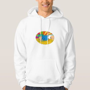 Amateur Boxer Hit By Glove Punch Oval Drawing Hoodie