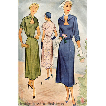 1950s DRESS PATTERN Sexy Shaped Keyhole Neckline Couturier Cocktail Dress Bust 40 McCall 7994 UNCUT Womens Plus Size Vintage Sewing Patterns
