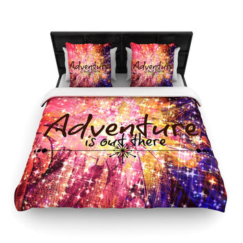 "Ebi Emporium ""Adventure is Out There"" Pink Typography Woven Duvet Cover"