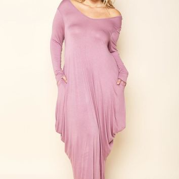 Mauve Flowy Draped Long Sleeves Plus Size Midi Dress