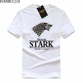 2017 Game of Thrones Wolf T-shirt Stark Winterfell Cotton Tee shirt Winter is coming Streetwear Funny Swag T shirt