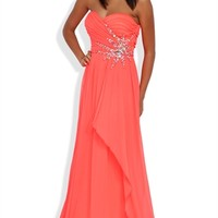 Strapless Long Prom Dress with Sweetheart Neck and Stone Burst Side Mobile