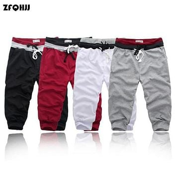 ZFQHJJ 2017 fashion Men's Cropped Trousers Joggers Hip Hop Harem Dance Baggy Fitness Casual Capri Pants Sweatpants M-3XL