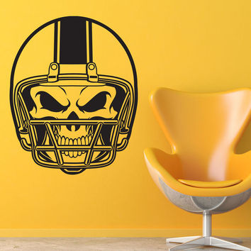 American Football Helmet Skull Wall Stickers For Kids Bedroom Wall Decorative Vinyl Wall Decals