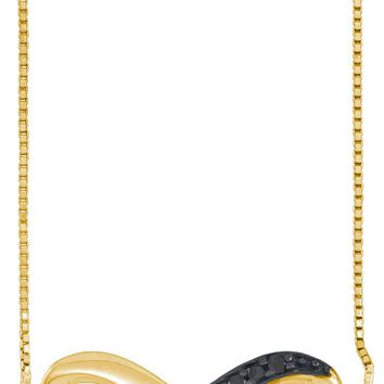 10k Yellow Gold Black Colored Diamond Infinity Love Anniversary Pendant Necklace 1/10 Cttw
