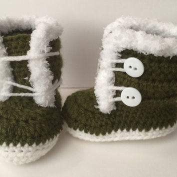 Front Tie 2 Button Closure Boots with fuzzy/ fur trim - Any Color - Newborn to 12 months
