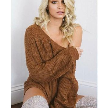 Khaki Asymmetric Shoulder Homecoming Party Long Sleeve Cuter Sweaters Dresses