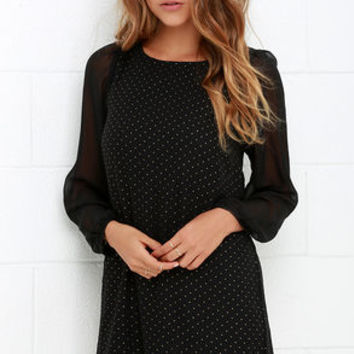Black Swan Tory Dotted Gold and Black Dress