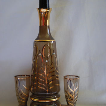 Bohemian Decanter and 4 Glasses , Gold and Amber Carafe and Glasses Mid Century Barware