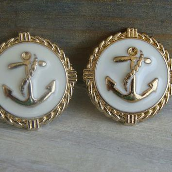 Gold White Enamel Anchor Earrings Post Stud Button Navy Nautical Vintage Style Water Sea Shell Ocean Beach Army