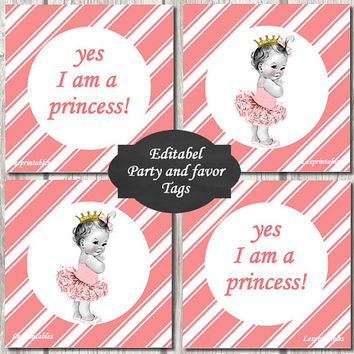 EDITABEL-Princess Baby Shower baby cupcake Toppers Printable Party baby girl  DIY Party Toppers girl peach diagonal stripes baby favor tags