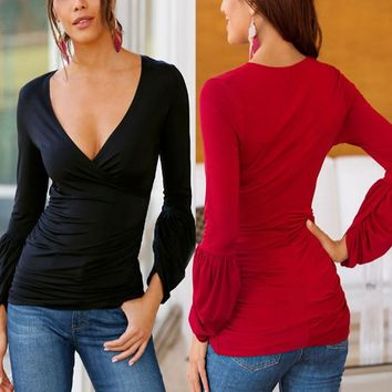 2018 3XL Celmia Sexy Deep V Neck Blouse Women Puff Sleeve Tops Long Sleeve Ruched Blusas Shirts Casual Slim Solid Tops Plus Size