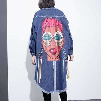 DENIM JACKET WITH ORIGINAL ARTWORK AND FRINGES