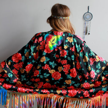Red Black Floral Grateful Dead Steal Your Face Tie Dye Fringe Upcycled Festival Bohemian Kimono Sweater Jacket Coat Womens One Size