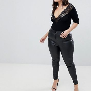 ASOS DESIGN Curve Top With Bardot Off Shoulder Lace Trim at asos.com