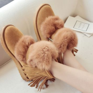 New warm flat snow boots suede women boots rubber non-slip shoes
