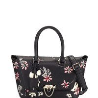Valentino Garavani Demilune Floral-Print Double-Handle Small Satchel Bag