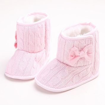 Winter Baby Warm Snow Boots/Shoes Bebe Non-slip Butterfly-knot Booties Baby Boy&Girl Toddler Shoes Infant First Walkers Zapatos